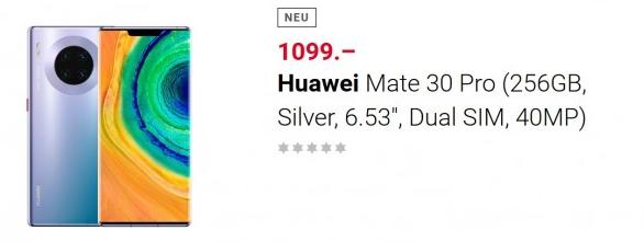 华为Mate 30 Pro即将在瑞士主要零售商预售