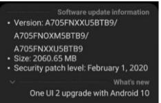 三星Galaxy A70收到一个UI 2.0的Android 10更新